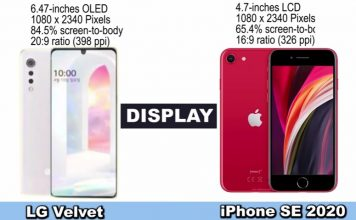 LG Velvet vs iPhone SE 2020