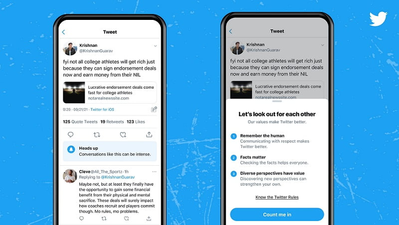 twitter heads up feature